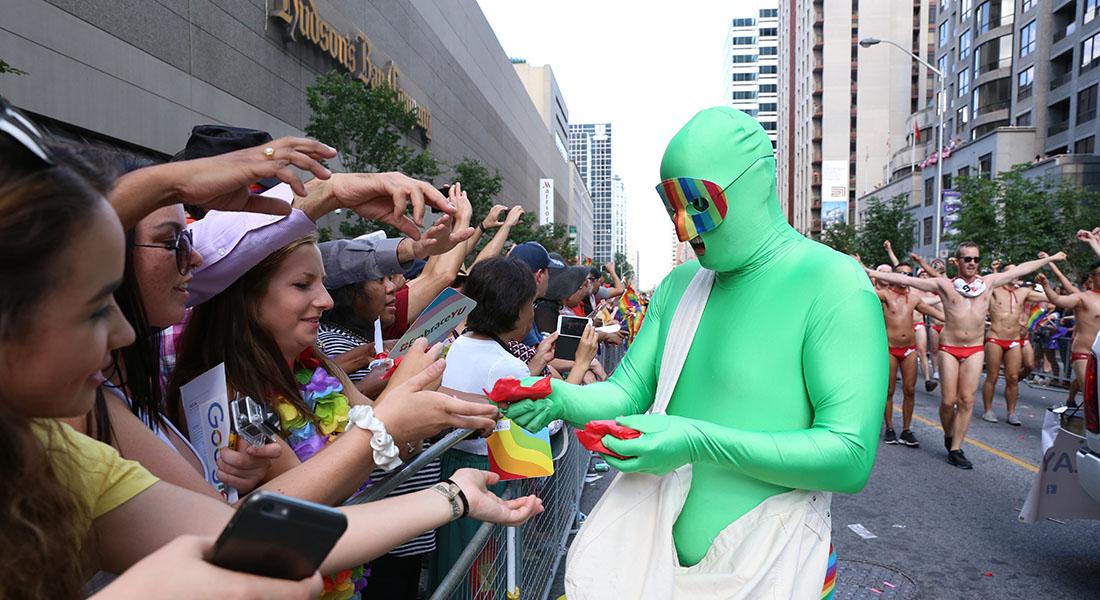 Shemale wearing green dress