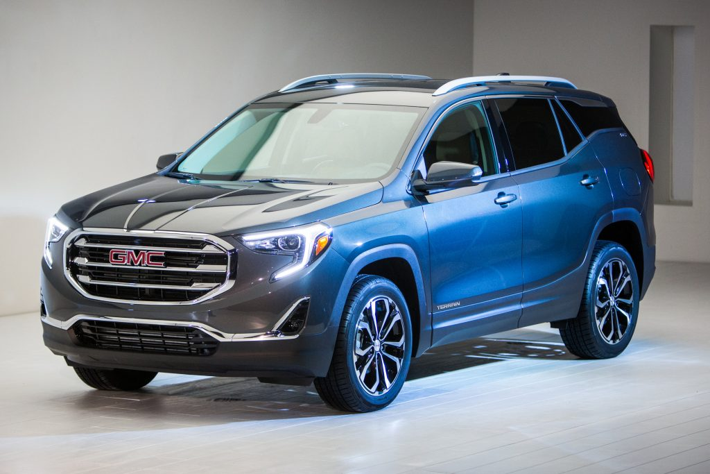 GMC introduces the 2018 Terrain SLT Sunday, January 8, 2017, on the eve of the North American International Auto Show in Detroit, Michigan. The compact SUV's shape was refined in the wind tunnel to ensure its new profile cuts through the air with optimal efficiency and quietness. The Terrain is available with three new turbocharged propulsion systems, including a new 1.6L turbo-diesel. The 2018 Terrain will go on sale this summer. (Photo by Jeffrey Sauger for GMC)